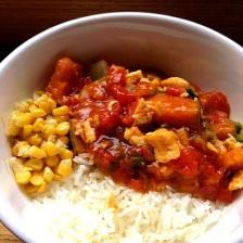 rice with sticky pumpkin sauce