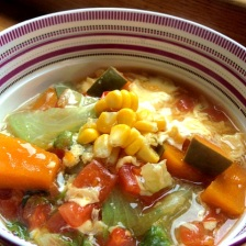 Udon noodles with pumpkin and vegetables