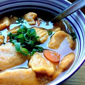 Pumpkin gnocchi in miso soup
