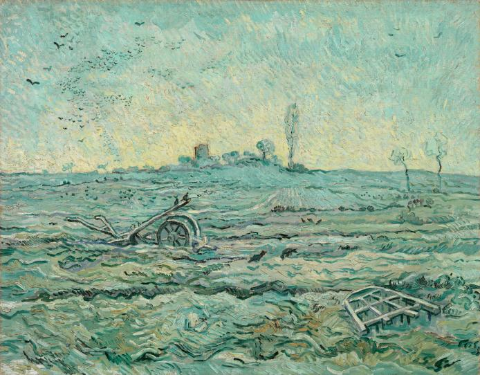 Snow-covered field with a harrow (after Millet)